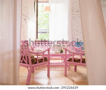 Horizontal View Cozy Baby Room Decor Stock Photo 359098748