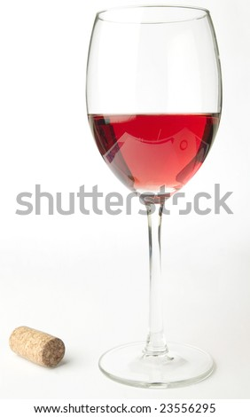 Pink wine and cork - stock photo
