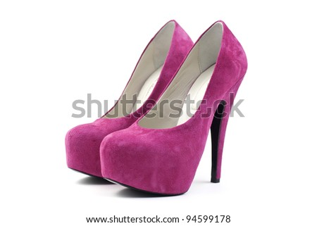 Pink woman shoes - stock photo