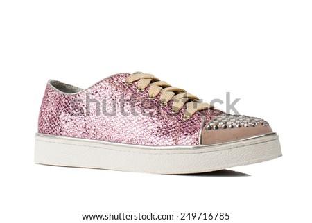 Pink women shoe isolated on white background.  - stock photo