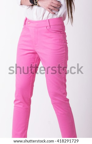 Pink women trousers,Focus on trousers. - stock photo