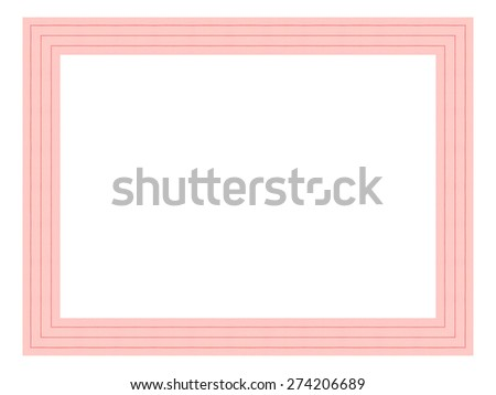 Pink wooden frame isolated on white background. - stock photo