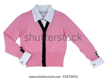 pink woolen jacket - stock photo