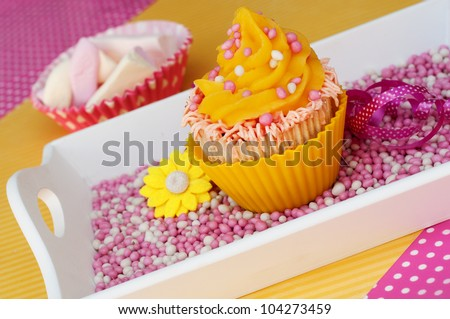 pink yellow cupcake on baby girl rusk with marshmallows - stock photo