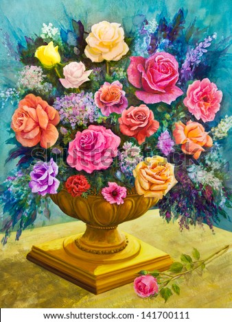 Pink, yellow, red, peach and lavender roses form a bouquet in a footed, golden bowl in an acrylic painting. - stock photo