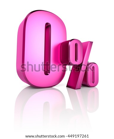 Pink zero percent sign isolated on white background. 3d rendering - stock photo