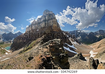 Pinnacle Mountain can be seen (center). Near Lake Louise, in Banff National Park, Alberta, Canada A 2-1/2 hour hike to Sentinel Pass. Larch Valley is on the left, Paradise Valley is on the right. - stock photo