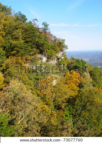 Pinnacle Overlook view of hills at the border of Kentucky, Tennessee and Virginia - stock photo