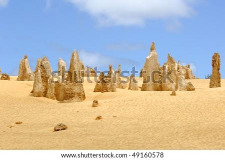 Pinnacles desert in Western Australia near the city of Cervantes - stock photo