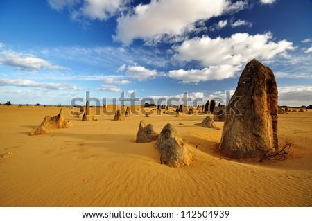 Pinnacles desert on a sunny day, Western Australia - stock photo