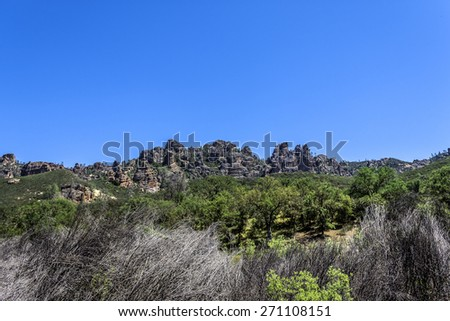 Pinnacles National Park in Monterey County, California, near the Salinas Valley, on the California Central Coast  - stock photo