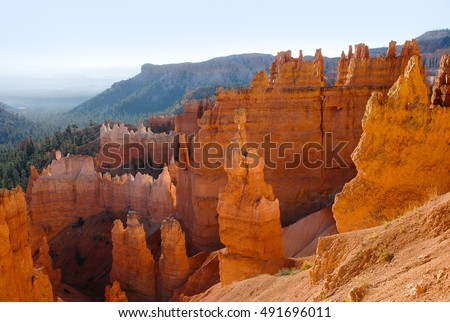 Pinnacles of Bryce Canyon National Park in Utah. Center feature is Thor's Hammer.