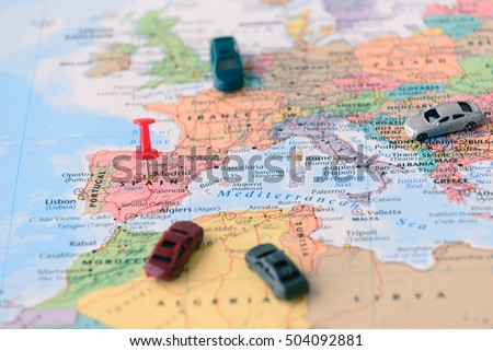 Pinned On Map Madrid Spain Miniature Stock Photo (Royalty Free ...