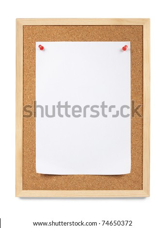 Pinned paper, notice board. Blank white piece of letter sized paper is pinned to a cork notice board. Copy Space. Isolated on white.