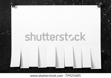 Pinned postit blank white reminder paper note - stock photo