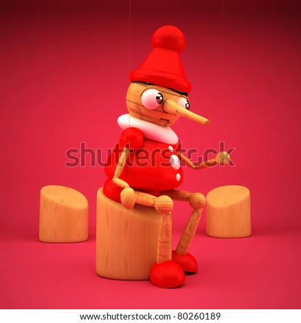 Pinocchio with pink background isolated 3D rendered - stock photo
