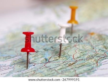 Pins destination in the map - stock photo