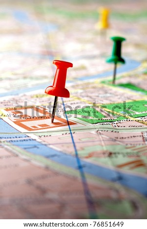 pins on the map - stock photo