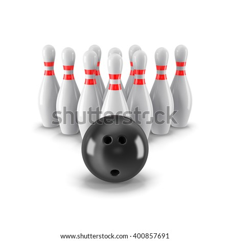 Pins with bowling ball on front side. 3D rendering - stock photo