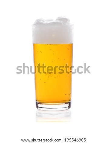 Pint glass of beer on a white background
