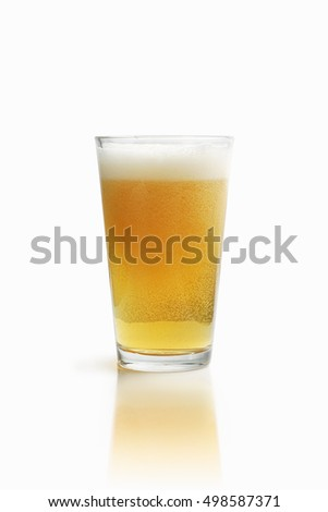 Pint glass with cold beer. With work PATH around the glass.