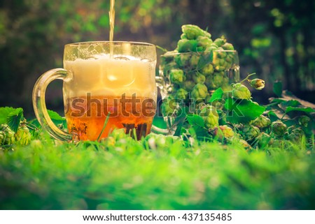 Pint of beer and a pint with cone hops - stock photo