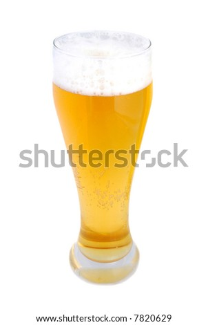 Pint of beer isolated on white