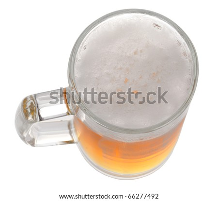 Pint of beer or lager isolated on white background
