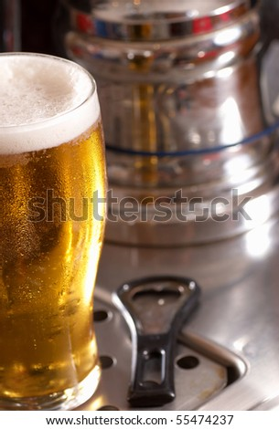 Pint of lager - stock photo