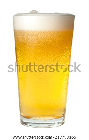Pint of light beer on white background - stock photo