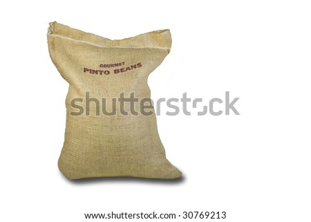 Pinto Beans in a Burlap Bag - stock photo