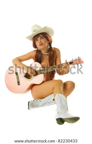 Pinup Cowgirl - stock photo