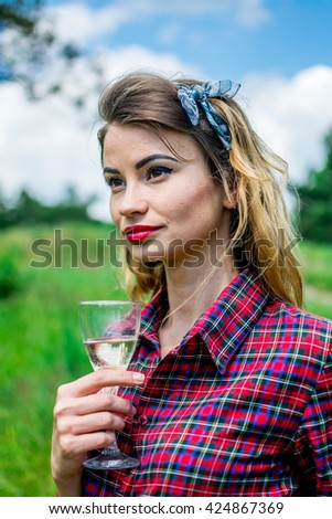 pinup girl at picnic