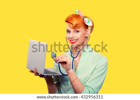 Pinup girl listening computer with stethoscope looking smiling at you retro vintage hairstyle Healthcare diagnosis software repair diagnostics internet threat security safety problem solving concept - stock photo