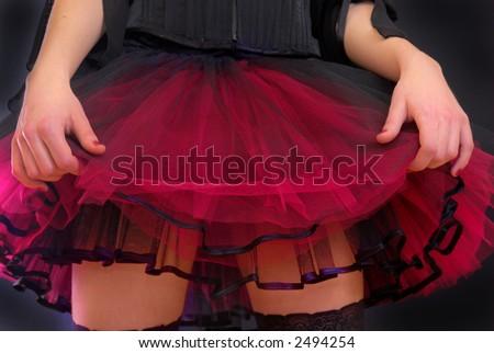 Pinup skirt on black - stock photo