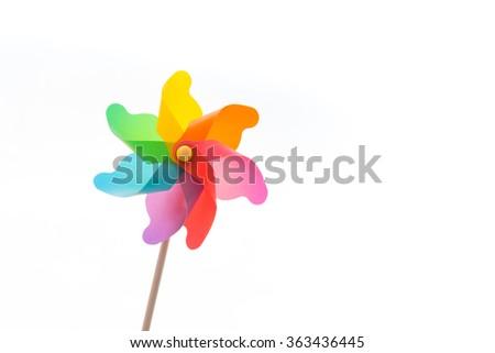 Pinwheel isolated on white - stock photo