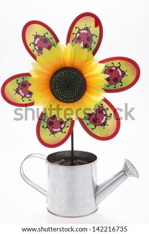pinwheel with sunflower - stock photo