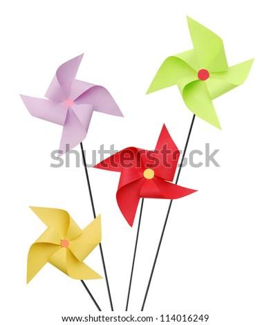 Pinwheels on white background - stock photo