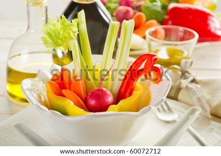 pinzimonio vegetables on bowl on restaurant table