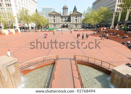 Pioneer Courthouse in Pioneer Square - stock photo
