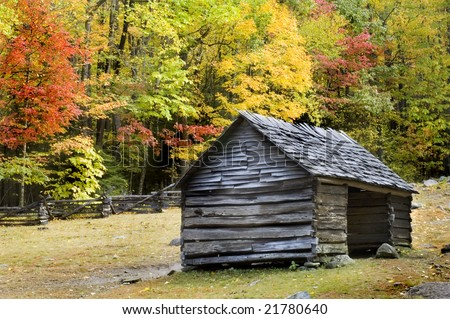 Pioneer era log cabin on ogle farm, located in the Great Smoky Mountains National Park - stock photo