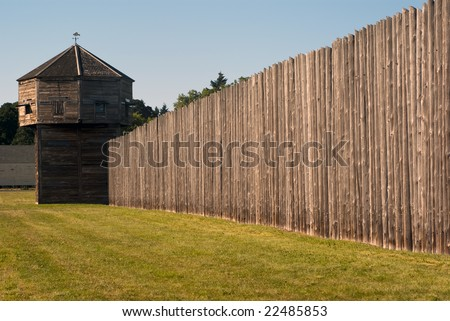 Pioneer fortress with defense tower Fort Vancouver near Portland - stock photo