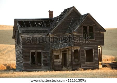 Pioneer homestead, central Oregon - stock photo
