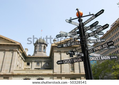 Pioneer Square and courthouse - stock photo