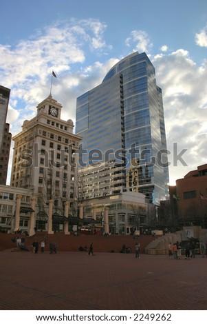Pioneer Square in downtown Portland Oregon - stock photo