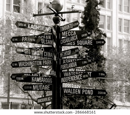Pioneers Square street sign in downtown Portland Oregon. - stock photo