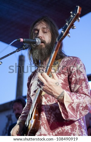 PIONEERTOWN, CA - JULY 21: Chris Robinson of Chris Robinson Brotherhood performs at the Freaks for the Festival at Pappy & Harriet's on July 21, 2012 in Pioneertown, CA. - stock photo