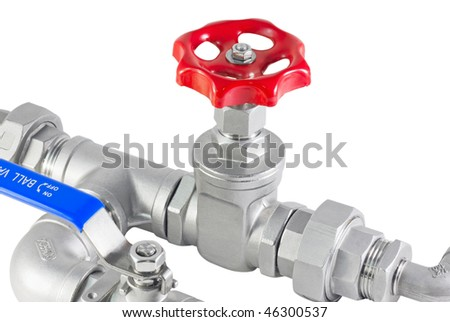 pipe and plumbing isolated on a white background - stock photo