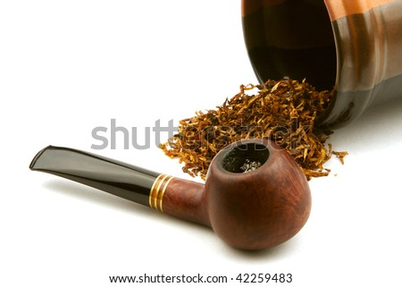 pipe and tobacco isolated on white background. - stock photo