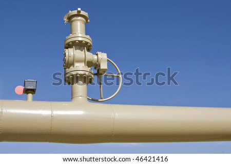 pipe and valve on blue sky